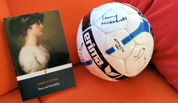 Jane Austen book and a football